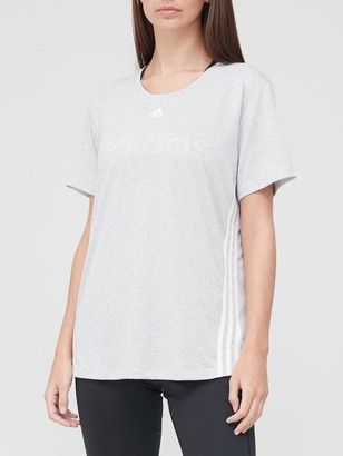 adidas 3 Stripe T-Shirt - Medium Grey Heather