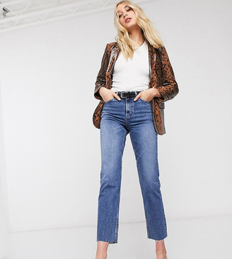 Topshop Tall straight leg jeans in mid wash