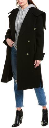 Helmut Lang Leather-Trim Wool Blanket Coat