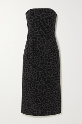 Valentino Strapless Leopard-jacquard Wool Midi Dress - Gray