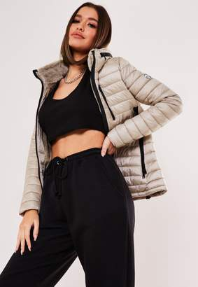 Missguided Champagne Faux Fur Zip Puffer Jacket