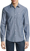 Original Penguin Long-Sleeve Oxford Diamond-Print Shirt, Dark Blue