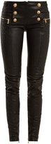 Balmain Military-button skinny-leg leather biker trousers
