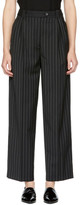 McQ Black Double Pleat Pinstripe Cropped Trousers