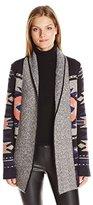 Lucky Brand Women's Intarsia Sweater Coat in Gray Multi