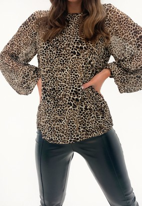 Missguided Brown Leopard Print Floaty Long Sleeve Top