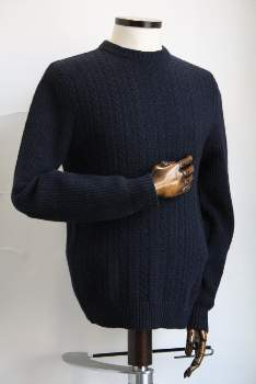 Remus Uomo - Navy Wool and Nylon Crew Neck Sweater - Wool and Nylon | xl | navy - Navy