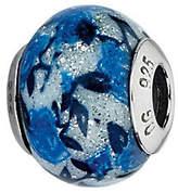 Murano Prerogatives Blue Rose Glitter Italian Glass Bead