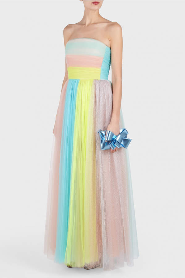 DELPOZO Strapless Tulle Gown