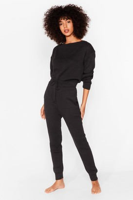 Nasty Gal Womens We're Knit Kidding Sweater and Joggers Set - Black