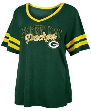 5th & Ocean Women's Plus Size Green Bay Packers Sleeve Stripe Slub T-Shirt
