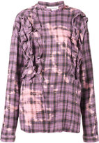 Faith Connexion Checked Shirt with Faded Detailing and Front Ruffles - women - Cotton/Ramie - S
