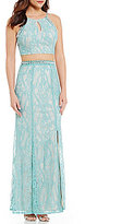 Xtraordinary Bead Trimmed High Neck Two-Piece Long Lace Dress