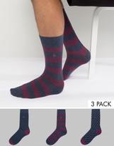 Jack Wills Alandale Stripe 3 Pack Socks Berry