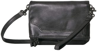 Frye Melissa Leather Stadium Bag Crossbody (Carbon) Cross Body Handbags