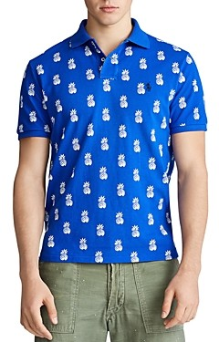 Polo Ralph Lauren Cotton Mesh Pineapple Print Custom Slim Fit Polo Shirt