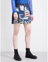 Junya Watanabe Distressed tartan-patch mid-rise denim skirt