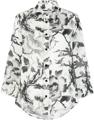 McQ Swallow Floral Print Blouse