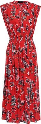 Markus Lupfer Isla Gathered Printed Woven Midi Dress