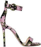 Gianvito Rossi 100mm Portofino Flower Satin Sandals