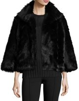 The Row Warner Shearling Bracelet-Sleeve Jacket, Black