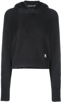 Alexander Wang logo patch knitted hoodie