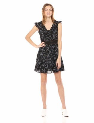 Cupcakes And Cashmere Women's Elm Printed Ruffle Sleeve Fit and Flare Dress