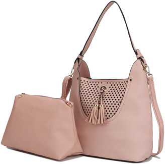 MKF Collection by Mia K. Women's Hobos Pink - Pink Perforated Tassel Convertible Hobo