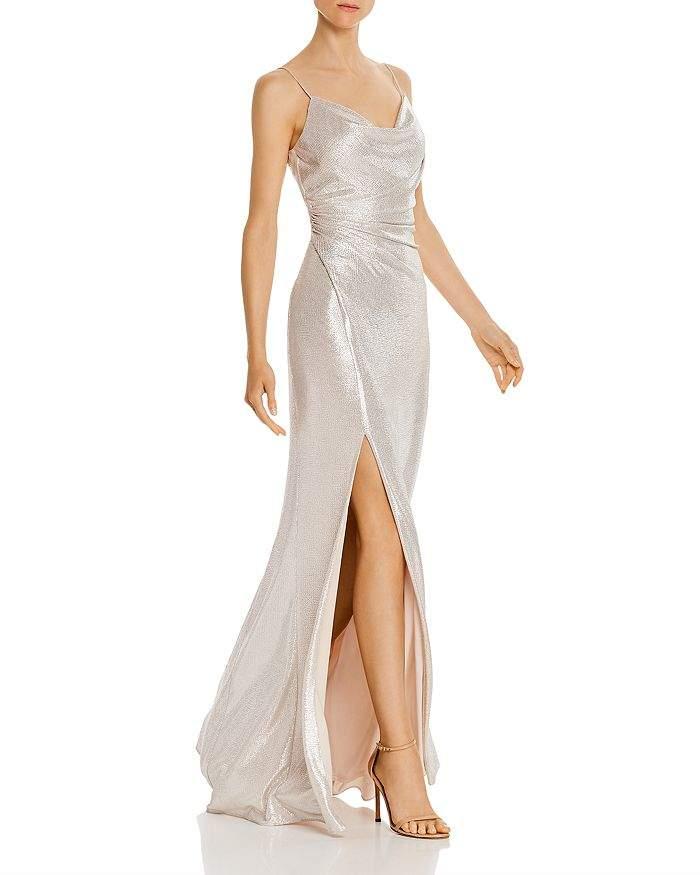 Aidan Mattox Foil Jersey Cowl-Neck Gown