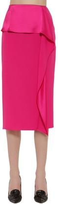Rochas Enver Satin Ruffled Pencil Skirt