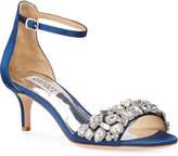 Badgley Mischka Lara Embellished Satin Kitten-Heel Sandals