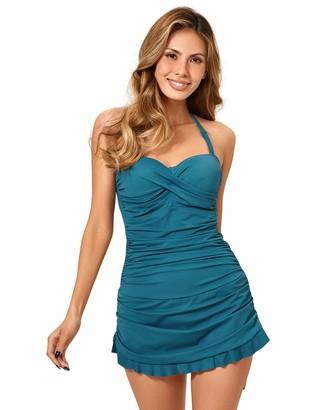 Dobreva Women's One Piece B-H Cup Tummy Control Swimsuit Plus Size Bathing Suit Bandeau Swimdress Shadow Blue 38D