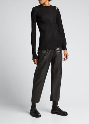 Sacai Cutout Cable-Knit Combo Wool Sweater