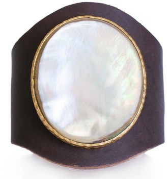 Christina Greene Leather Cuff in Pearl