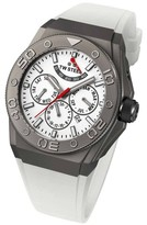 TW Steel CEO Diver CE5002 Sandblasted Titanium Plated Case / White Silicon with White Dial 44mm Mens Watch