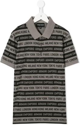 Emporio Armani Kids Logo Print Polo Shirt
