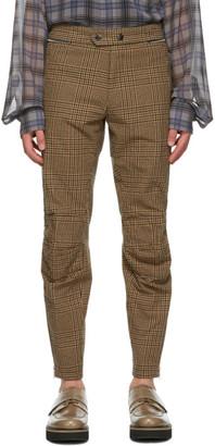 Dries Van Noten Brown and Black Houndstooth Zip Trousers