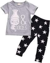 Mrs.Baker'Home Infant Boys Girls Letters & Pattern Short Sleeve T-shirt+Star Pants Outfits Suit (12-18 M, )