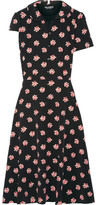 Junya Watanabe Layered Floral-print Crepe De Chine And Cotton Dress - Black