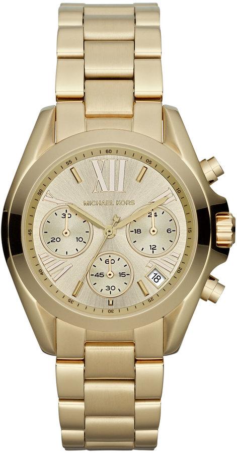 Michael Kors Mid-Size Golden Stainless Steel Bradshaw Chronograph Watch