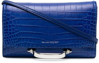 Alexander McQueen Croc-Effect Handle-Detail Clutch Bag