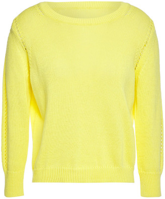 Cotton By Autumn Cashmere Pointelle-trimmed Cotton Sweater