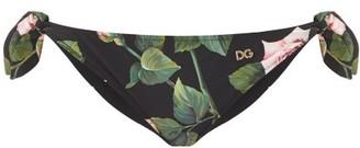 Dolce & Gabbana Rose-print Side Tie Bikini Briefs - Black Print