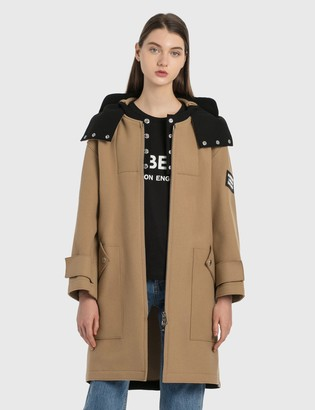 Burberry Logo Applique Technical Wool Hooded Parka