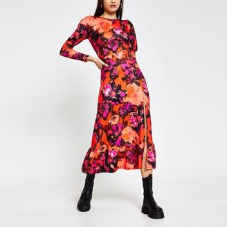 River Island Womens Red floral Long Sleeve side split midi dress