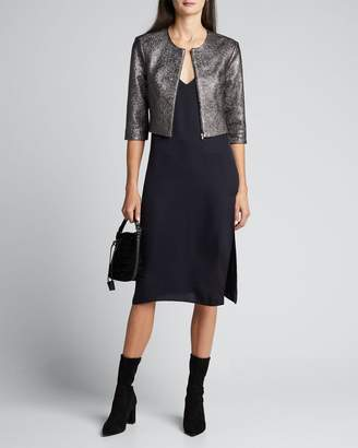 Susan Bender Metallic Leather Cropped 3/4-Sleeve Jacket