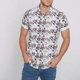 River Island Mens Cream floral slim fit short sleeve shirt