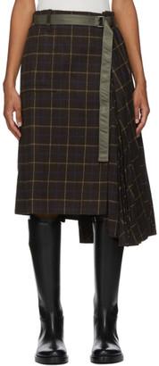 Sacai Brown Wool Windowpane Skirt