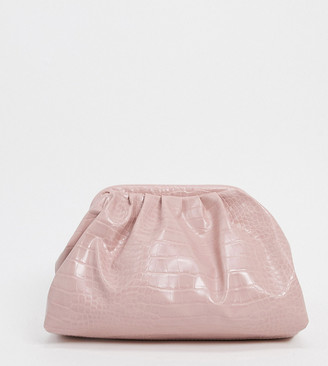 Glamorous Exclusive slouchy pillow clutch bag in light pink croc