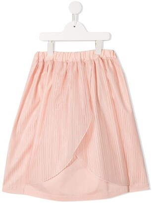 Familiar Wrap Front Pleated Skirt